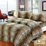 【BUTTERFLY】 抗寒暖呼呼 搖粒絨雙人床包被套組 野戀豹紋