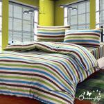 【BUTTERFLY】 抗寒暖呼呼 搖粒絨雙人床包被套組 線性彩紋
