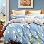 【BEDDING】100%棉雙人特大 6x7尺舖棉床包+舖棉兩用被四件組-陌上花開(藍)