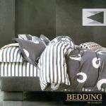 【BEDDING】100%棉雙人特大 6x7尺舖棉床包+舖棉兩用被四件組-夏洛特(灰)