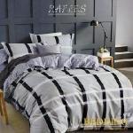 【BEDDING】100%棉雙人特大 6x7尺舖棉床包+舖棉兩用被四件組-都市格調(灰)