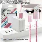 TOPCOM 3.4A 雙輸出行李箱旅充+Lightning 8pin編織充電線-玫瑰金