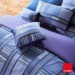La mode寢飾 格調單寧環保印染精梳棉兩用被床單組(雙人)