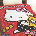 【HELLO KITTY】 凱蒂貓 法蘭絨暖暖被 小熊寶貝(紅)