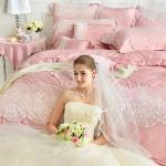 義大利La Belle《雅典娜》特大天絲蕾絲四件式防蹣抗菌舖棉兩用被床包組