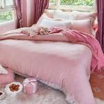 義大利La Belle《小步圓舞曲-粉》特大天絲蕾絲八件式防蹣抗菌兩用被床罩組