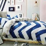 【BEDDING】100% 棉雙人特大被套8x7尺-卡羅時光(藍)