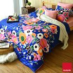 La mode寢飾 異國花園環保印染精梳棉被套床包組(雙人)