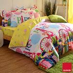 La mode寢飾 綻耀巴黎環保印染精梳棉兩用被床包組(加大)