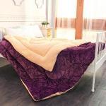 法蘭絨加厚羔羊絨大毯180x210cm-紫色宮廷風