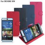 iRis HTC Desire 830 亮紋磨砂側翻支架皮套(紳士藍)