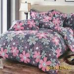 【BEDDING】活性印染雙人四件式舖棉床包兩用被組-幽蘭花香