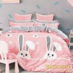 【BEDDING】100%棉 雙人舖棉床包+舖棉兩用被四件組-淘氣夢(粉)