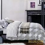 【BEDDING】100%棉 雙人舖棉床包+舖棉兩用被四件組-路易斯威