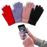 格紋針織觸控保暖手套(黑色)