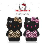 iPhone5 5s專用 HELLO KITTY 3D豹紋款手機套(粉紅)