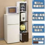 《C&B》加高型廚房隙縫電器櫃 兩色可選(胡桃色面板)