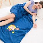 【奶油獅】台灣製-牛仔加厚長毛雙面珊瑚絨保暖毯(星星牛仔-湛藍)